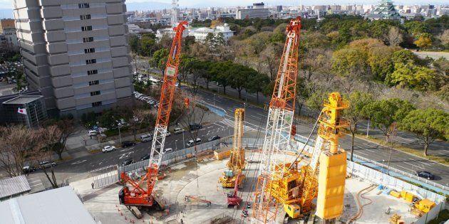 リニア中央新幹線工事の入札で不正が疑われている「名城非常口新設工事」の現場=12月12日、名古屋市中区