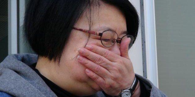 渡辺照子さんの最後の出勤の朝。感極まって涙があふれた 写真提供=レイバーネット日本