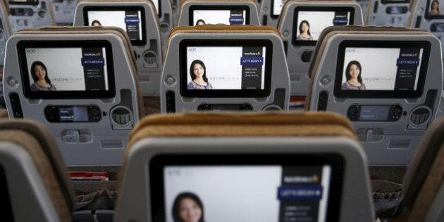 A view of the inflight entertainment screen on the back of economy class seats on the first of 67 new...