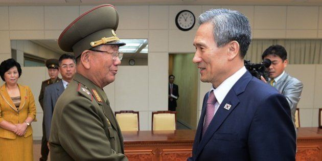 In this photo provided by the South Korean Unification Ministry, South Korean presidential security adviser...