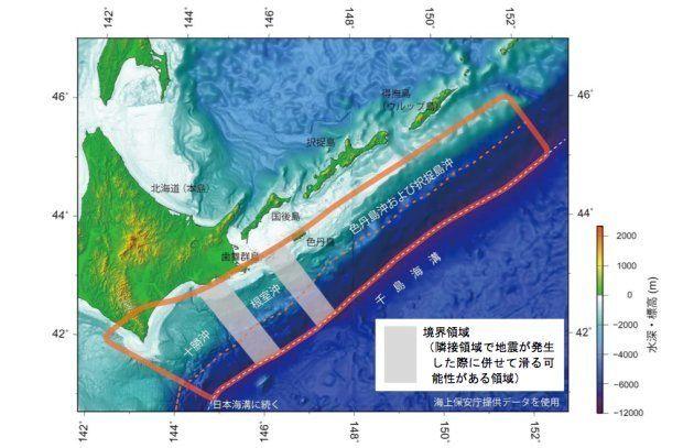 超巨大地震が想定される場所(地震調査委の資料より)