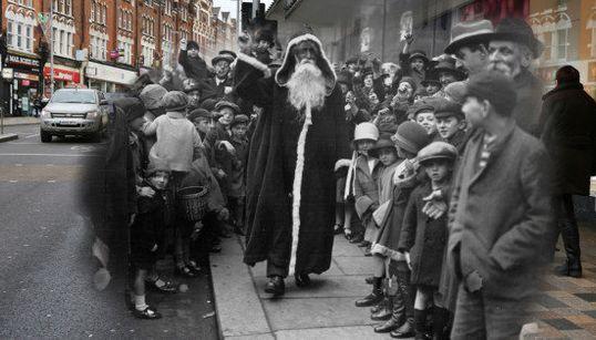クリスマス、ロンドンの今と昔が一枚の写真に融け合う(画像)