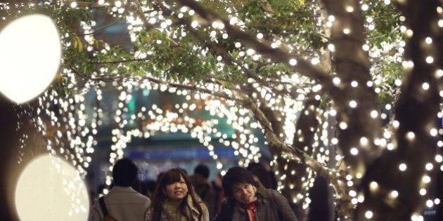 A couple walks through part of Christmas illuminations, lit by 280,000 LED lights, at Tokyo Midtown business...