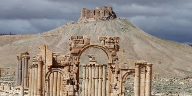 A picture taken on March 14, 2014 shows a partial view of the ancient oasis city of Palmyra, 215 kilometres...