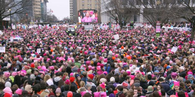 Hundreds of thousands of people take part in the Women's March in Washington on Jan. 21, 2017, to protest...