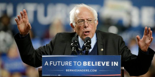 Democratic presidential candidate Sen. Bernie Sanders, I-Vt., speaks at a rally Friday, March 25, 2016,...