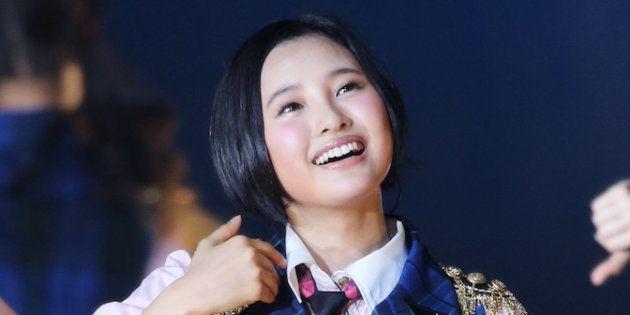AKB48グループのイベント「AKB48グループ春コンinさいたまスーパーアリーナ~思い出は全部ここに捨てていけ~」のHKT48単独公演。パフォーマンスを披露する兒玉遥=2014年4月5日、埼玉県・さいたまスーパーアリーナ