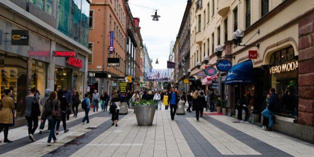 People on a street, Drottninggatan, Stockholm,