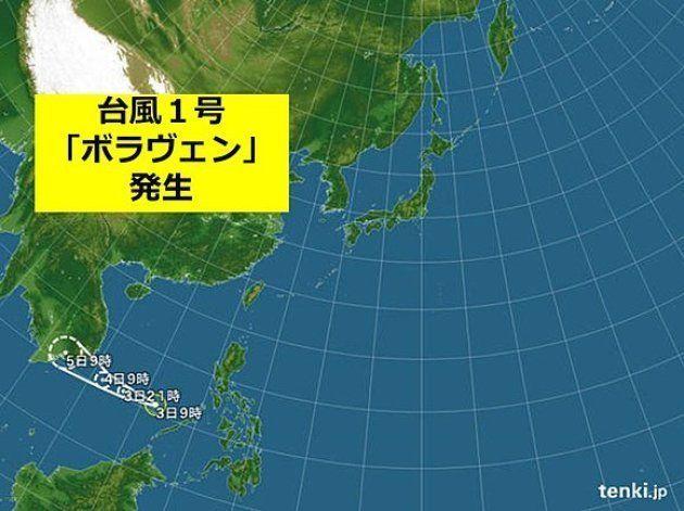 3日午前9時、南シナ海で台風1号「ボラヴェン」が発生しました。台風1号が1月3日午前9時に発生するのは、1951年の統計開始以来3位の早さです。