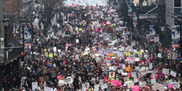 People participate in a Women's March to protest against U.S. President Donald Trump in New York City,...