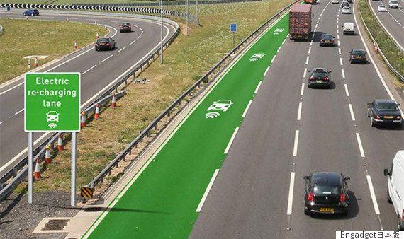 ワイヤレス充電式のバス、公道を走る。