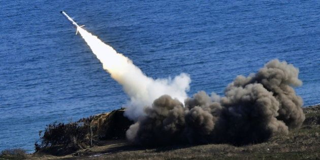 PRIMORYE TERRITORY, RUSSIA. APRIL 21, 2016. A Bal coastal missile system launches a Kh-35 anti-ship missile...