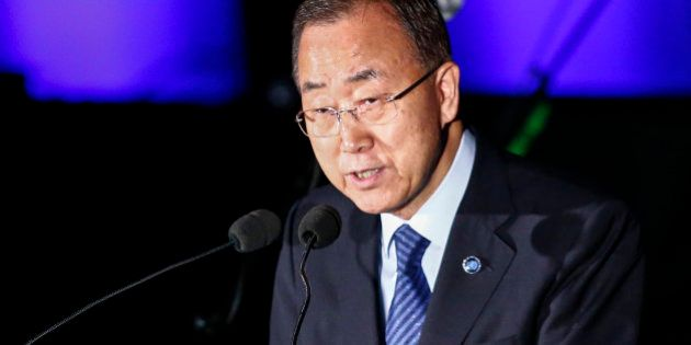 NEW YORK, NY - AUGUST 18: United Nations Secretary-General Ban Ki-moon speaks during the commemoration...