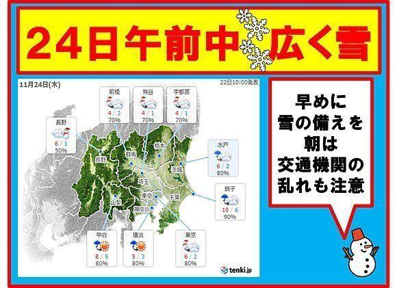 東京で24日に雪の恐れ 降る時間はいつ?
