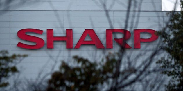 The Sharp Corp. logo is displayed at the company's Kameyama plant in Kameyama City, Mie Prefecture, Japan,...