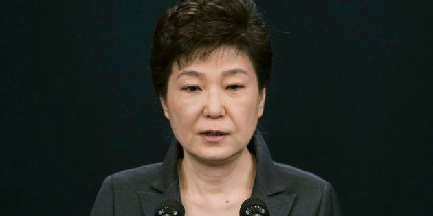 FILE - In this Friday, Nov. 4, 2016, file photo, South Korean President Park Geun-hye speaks during an...