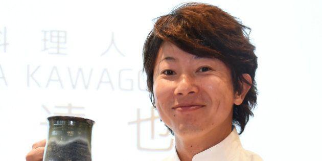 TOKYO, JAPAN - OCTOBER 10: Chef Tatsuya Kawagoe attends the Gourmet Fair event at Ginza Nagano Store...