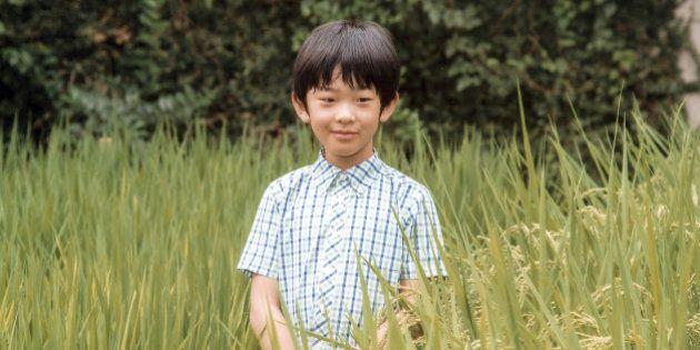 Japan's Prince Hisahito, the only son of Prince Akishino and Princess Kiko, poses at a rice field of...