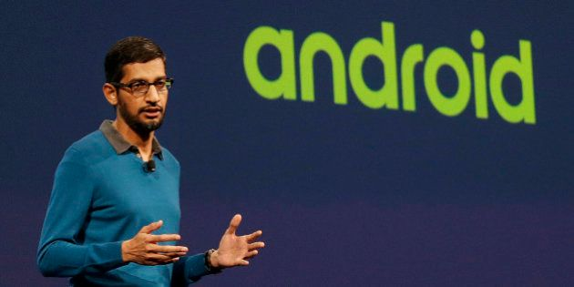 Sundar Pichai, senior vice president of Android, Chrome and Apps, speaks during the Google I/O 2015 keynote...