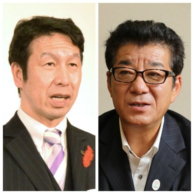 松井一郎・大阪府知事(右)と米山隆一・新潟県知事