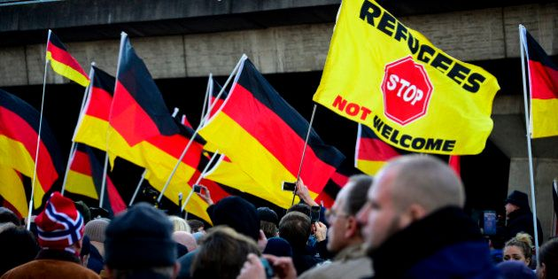 COLOGNE, GERMANY - JANUARY 09: Supporters of Pegida, Hogesa (Hooligans against Salafists) and other right-wing...