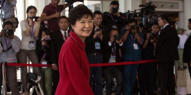 NAYPIDAW, BURMA - NOVEMBER 13: Korean President Park Geun-Hye arrives on the second day of the ASEAN...