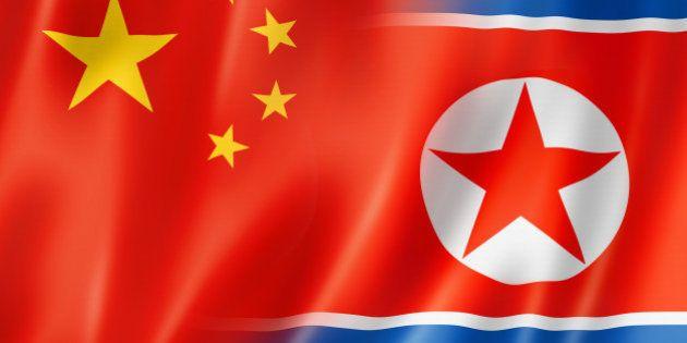 Mixed China and north korea flag, three dimensional render,