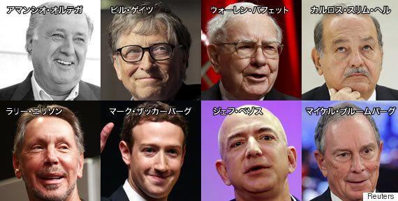 この8人の大金持ちは、世界人口の半分と同等の資産を持っている