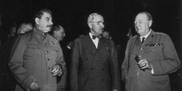 Potsdam conference. Truman, Stalin and Churchill, 1945, World War II, National Archives - Washington,...