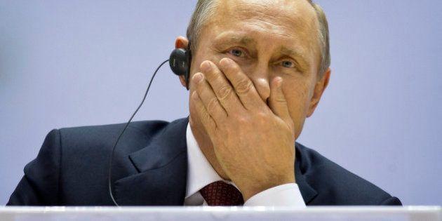 Russian President Vladimir Putin attends the World Diamond Conference in New Delhi, India, Thursday,...
