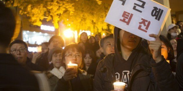 SEOUL, SOUTH KOREA - NOVEMBER 12: South Korean people march during a demonstration, demanding the resignation...