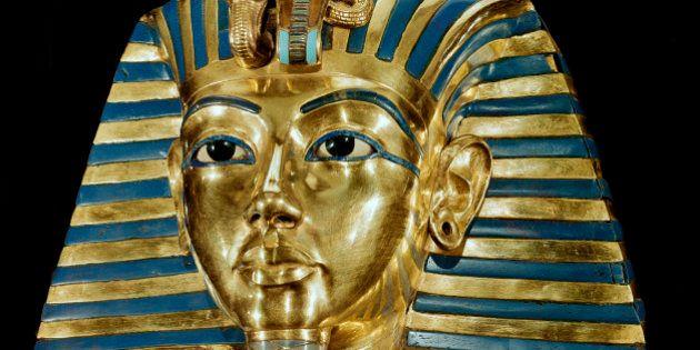 Egyptian Antiquities. Mask of Pharaoh Tutankhamun, part of Tutankhamun's Treasures. Gold with precious...