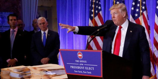 U.S. President-elect Donald Trump speaks during a news conference in Trump Tower, Manhattan, New York,...