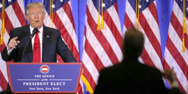 NEW YORK, Jan. 11, 2017 -- U.S. President-elect Donald Trump speaks during a news conference in New York,...