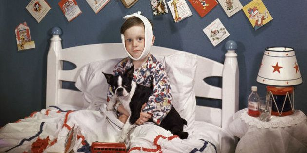 A sick boy with a bandage wrapped around his head sits in bed, a French Bulldog in his lap and surrounded...