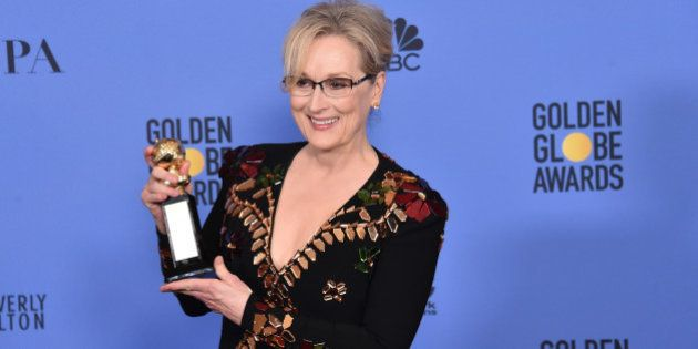 BEVERLY HILLS, CA - JANUARY 08: Meryl Streep poses in the press room during the 74th Annual Golden Globe...