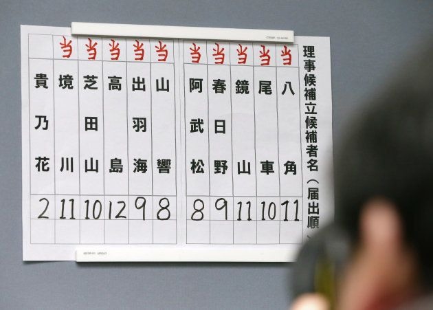 日本相撲協会理事候補選挙の結果を伝える張り紙。貴乃花親方(元横綱)の得票は2票のみで落選した 撮影日:2018年02月02日