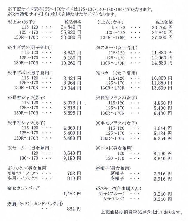 中央区が公表した、「アルマーニ標準服」の価格表