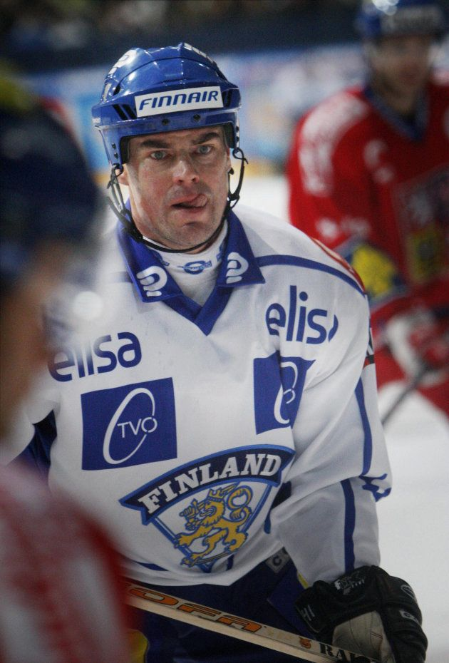 Finland's Raimo Helminen looks on during the Ice hockey match against the Czech Republic in Tampere,...