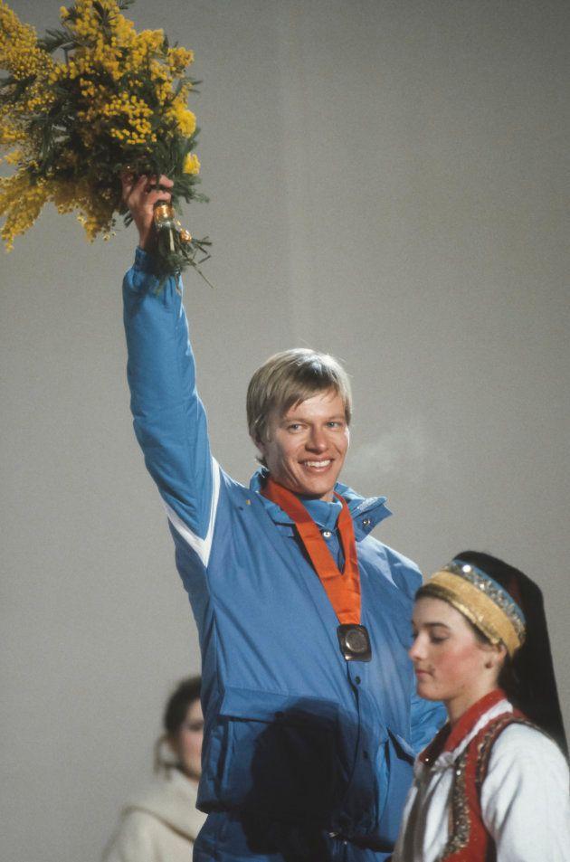 SARAJEVO, YUGOSLAVIA - FEBRUARY 13: Harri Kirvesniemi #37 of Finland waves to the crowd during the awards...