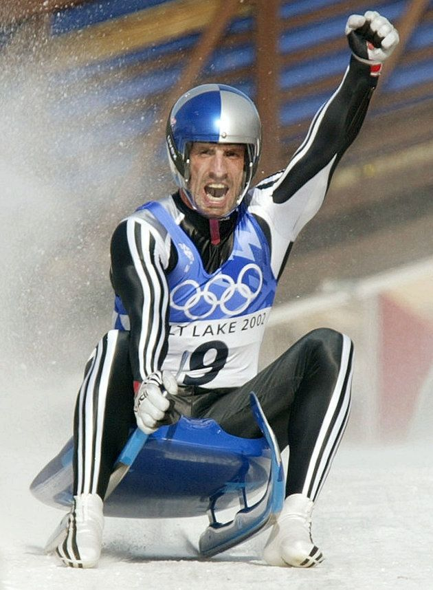 Markus Prock of Austria celebrates after winning the silver medal in the luge competition in Park City,...