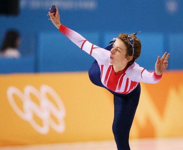 SALT LAKE CITY, UNITED STATES: Austrian Emese Hunyady jubilates after she set a new olympic record with...