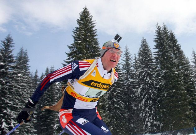 Sergei Tchepikov of Russia team II competes during the mixed relay World Championships Biathlon race...