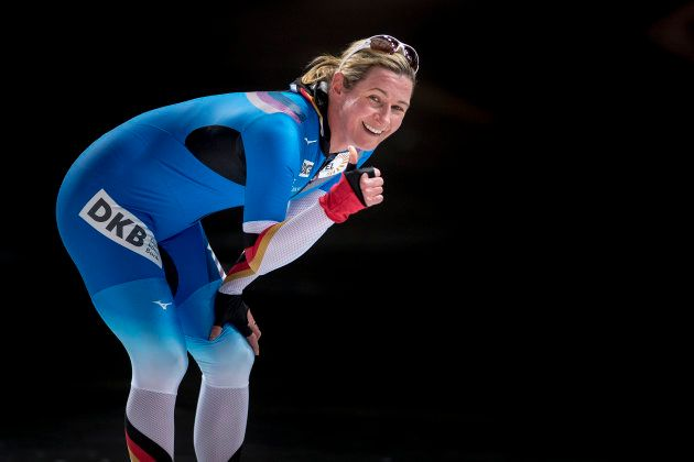 Germany's Claudia Pechstein celebrates after the women's 5000m World Cup speedskating race in Stavanger,...