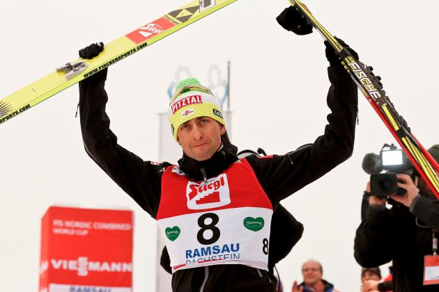 RAMSAU, AUSTRIA - DECEMBER 16: (FRANCE OUT) Mario Stecher of Austria takes 3rd place during the FIS Nordic...
