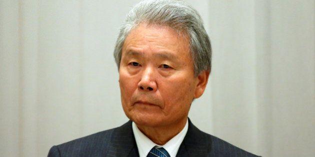 Chairman of Japan Business Federation (Keidanren) Sadayuki Sakakibara attends a luncheon with Myanmar...
