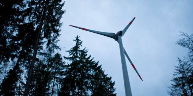MARKT BERATZHAUSEN, GERMANY - OCTOBER 29: A wind turbine Enercon 101 is located in the forest Brenntenberg...