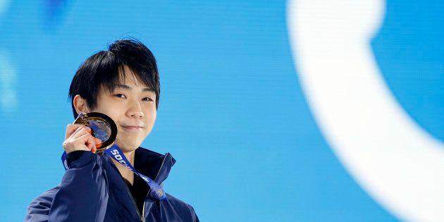 ソチ五輪で金メダルに輝いた羽生結弦選手(2014年2月)