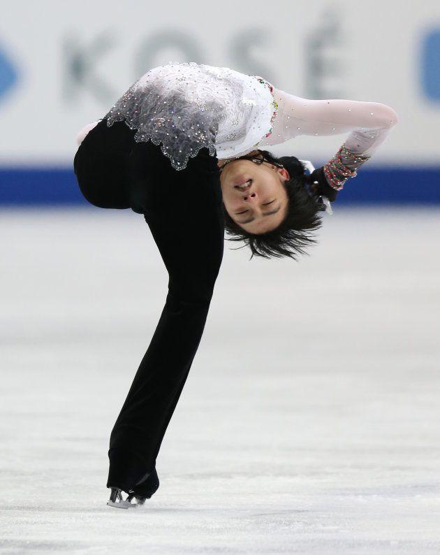 フィギュアスケート男子フリーで演技する羽生結弦(ANA)=2014年3月28日、埼玉・さいたまスーパーアリーナ