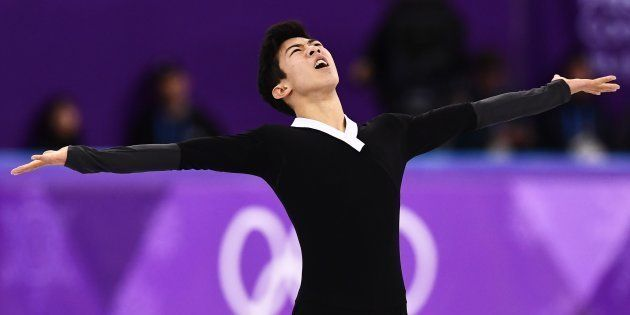 USA's Nathan Chen competes in the men's single skating free skating of the figure skating event during...